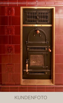 kf_ofen.400 Photos of customers: Oven with red art and craft tiles Golem F 10.400