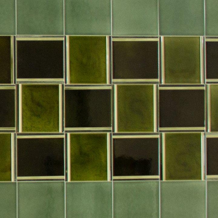 Wandfliesenspiegel, Patch-Art gestaltet von Sabine Heller WSH 198 (5,6m²)