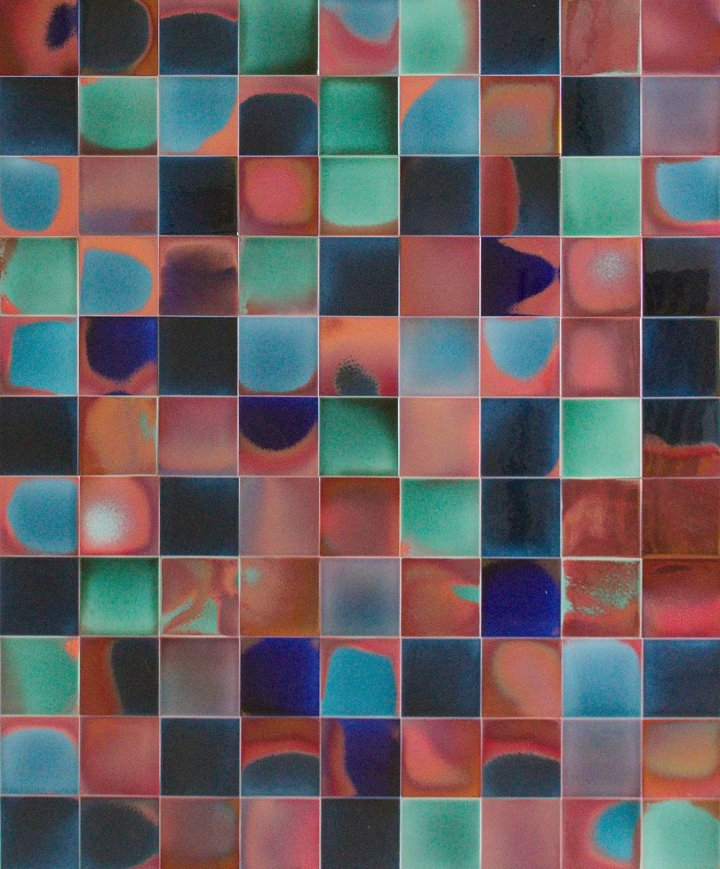 Wandfliesen in blau, rot und grün Varianten (Reduktionsbrand)  F 10.RD 2 (41 m²)