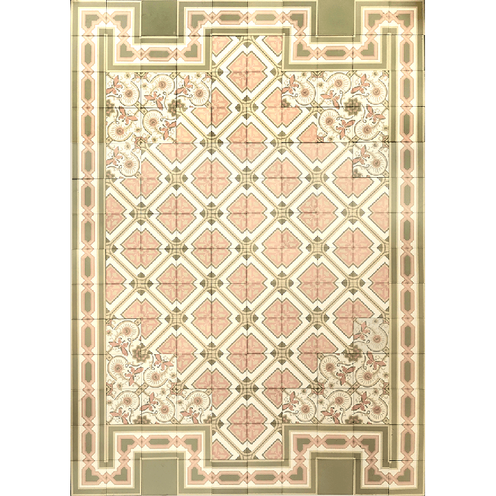 Bodenfliesen Verlegemuster in rosagrau, grün und beige Tönen  PSF 7 (4,11 m²)