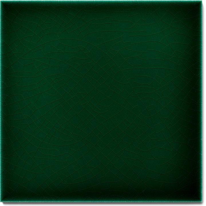 Einfarbig glasierte Wandfliese F 10.7, Dunkelgrün kalt