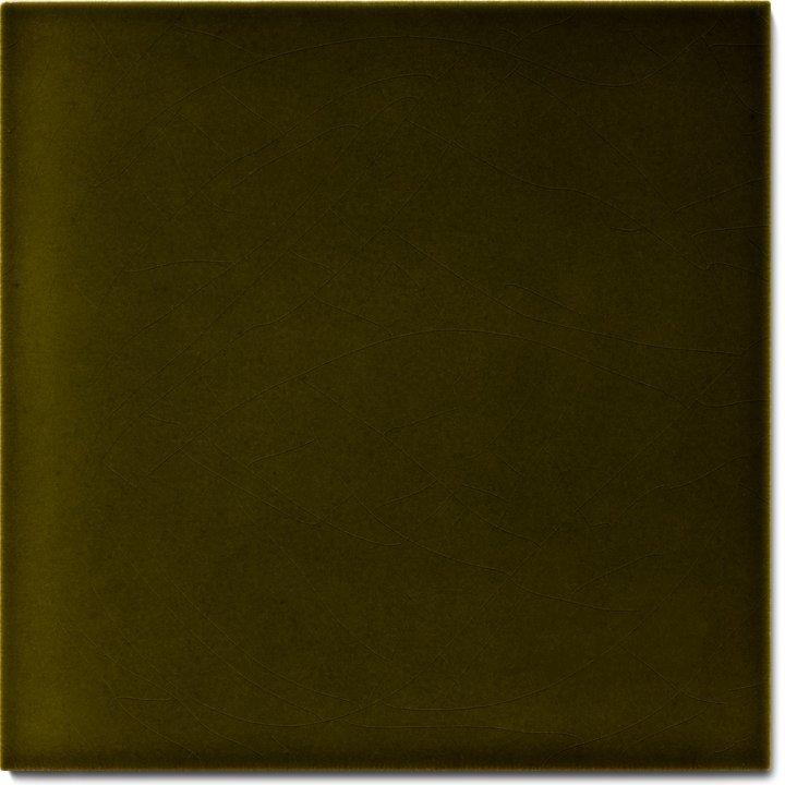 Einfarbig glasierte Wandfliese F 10.29, Olivgrün