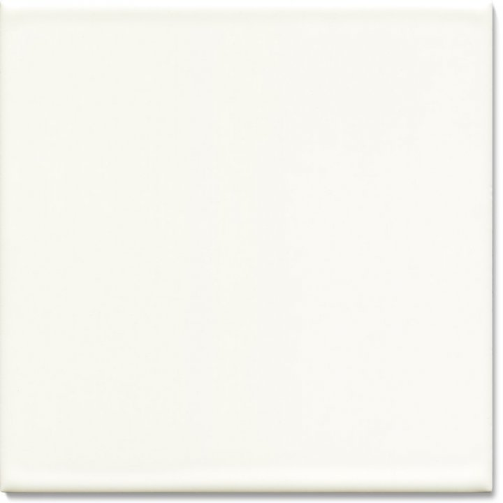 Einfarbig glasierte Wandfliese F 10.48, Weiß grünlich deckend