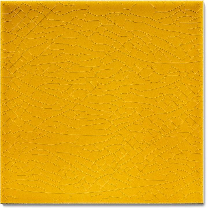 Einfarbig glasierte Wandfliese F 10.575, Biergelb