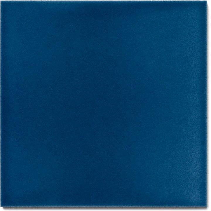 Einfarbig glasierte Wandfliese F 10.636, Samanablau