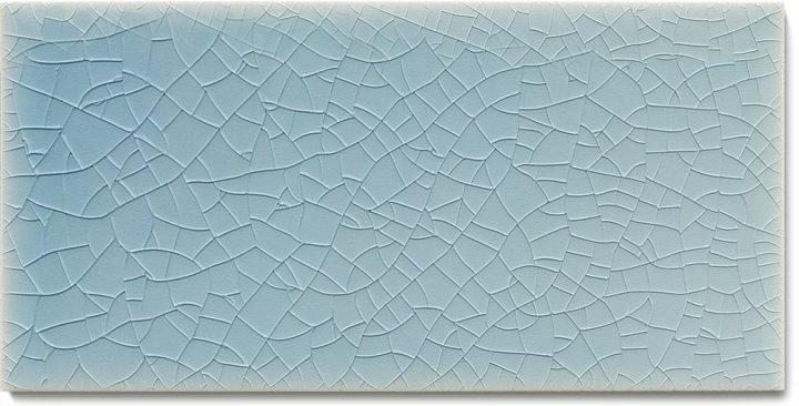 Einfarbig glasierte Wandfliese  F 10.4 H, Pastell graublau, Halbformat