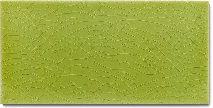 Plain glazed wall tile F 10.10 H, Lindgrün hell, half tile