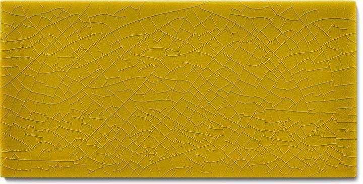 Plain glazed wall tile F 10.12 H, Dunkelgelb, half tile