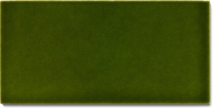Einfarbig glasierte Wandfliese  F 10.28 H, Grünflocke, Halbformat