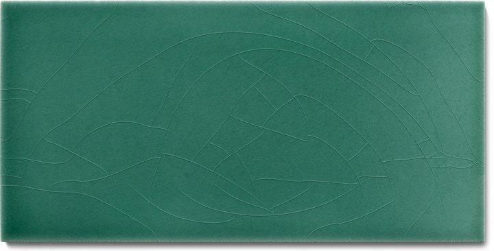 Einfarbig glasierte Wandfliese F 10.43 H, Schilfgrün, Halbformat