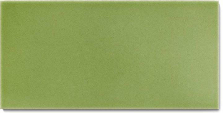 Einfarbig glasierte Wandfliese F 10.63 H, Pastell graugrün, Halbformat