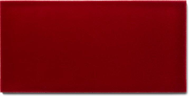 Einfarbig glasierte Wandfliese F 10.405 H, Krapplack, Halbformat