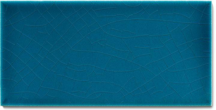 Einfarbig glasierte Wandfliese F 10.610 H, Blaugrün dunkel, Halbformat