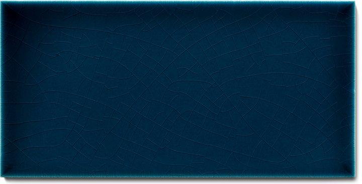 Einfarbig glasierte Wandfliese F 10.667 H, Dunkelblau transparent, Halbformat