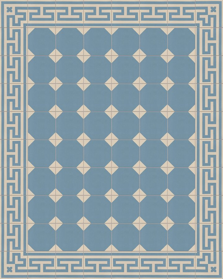 Meander ornament floor tile with antique pattern. Inlaid stoneware motif in blue-gray.