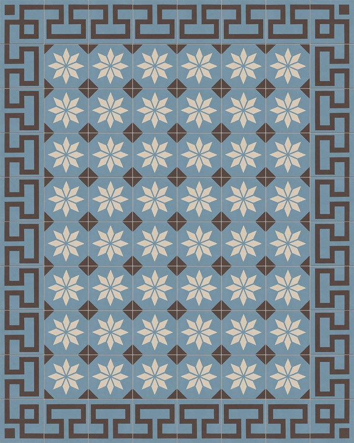 Meander ornament floor tile with antique pattern. Inlaid stoneware motif in blue-gray and black-brown.