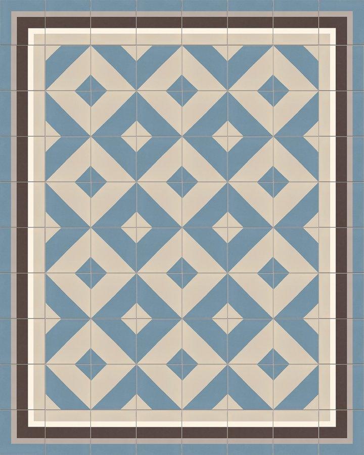 Rautenmotiv in blaugrau und hellgrau. Bodenfliese auf Feinsteinzeug mit modernem Muster. Verlegebeispiel SF209A.