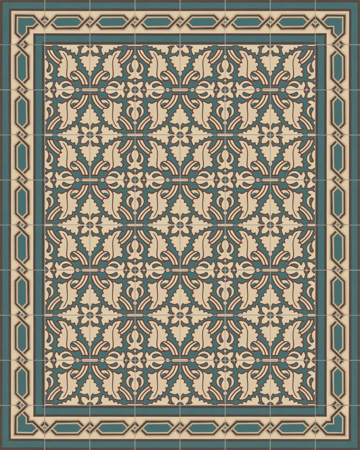 Old historical stoneware sample SF557B edge tile in beige, brown and green in the style of the Wilhelminian era. Format 17 x 17 cm