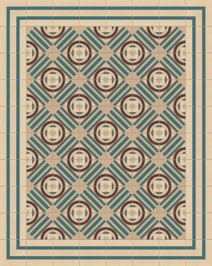 Carrelage en grès incrusté beige, marron et vert. Motif géométrique de l'Art Déco comme exemple d'installation SF410B.