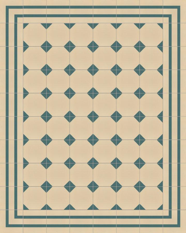 Hellbeige und petrolgruene Steinzeugfliese mit geometrischem Art Decó Motiv als Randfliese SFTG8202B.