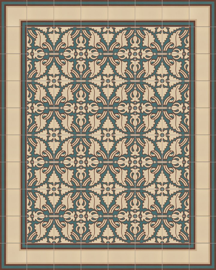 Bodenfliesen beige und gruen intarsiert. Florales Ornamentmotiv der Feinsteinzeugfliese SF331B mehrteilig.