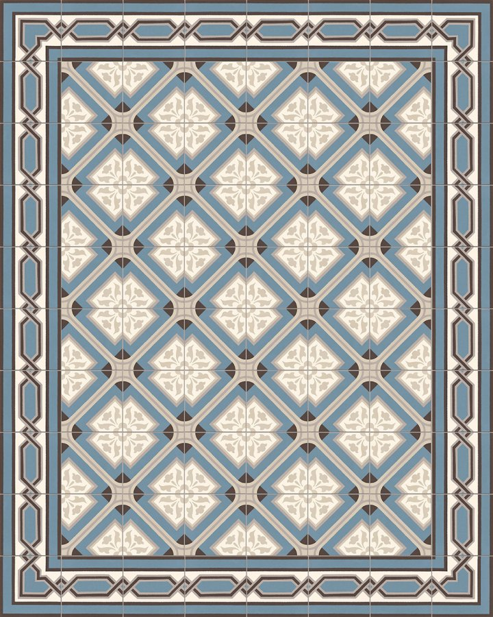 Ornament porcelain stoneware: the historical stoneware tile SF 556 A as an installation pattern with the stoneware tiles SF 557 A + SF 557 A e, size: 17 x 17cm, colors blue, gray and beige