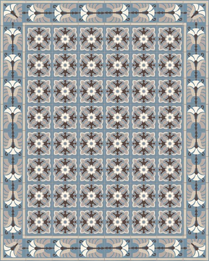 Blaugrau intarsierte Bodenfliese mit üppig-floralem Ornament. Historisches Motiv der Gründerzeit.