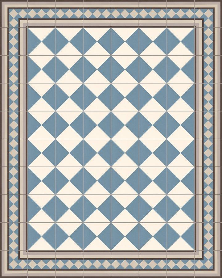 Schachbrettfliese intarsiert in blauweiß. Feinsteinzeug mit klassischem, kontraststarken Motiv.
