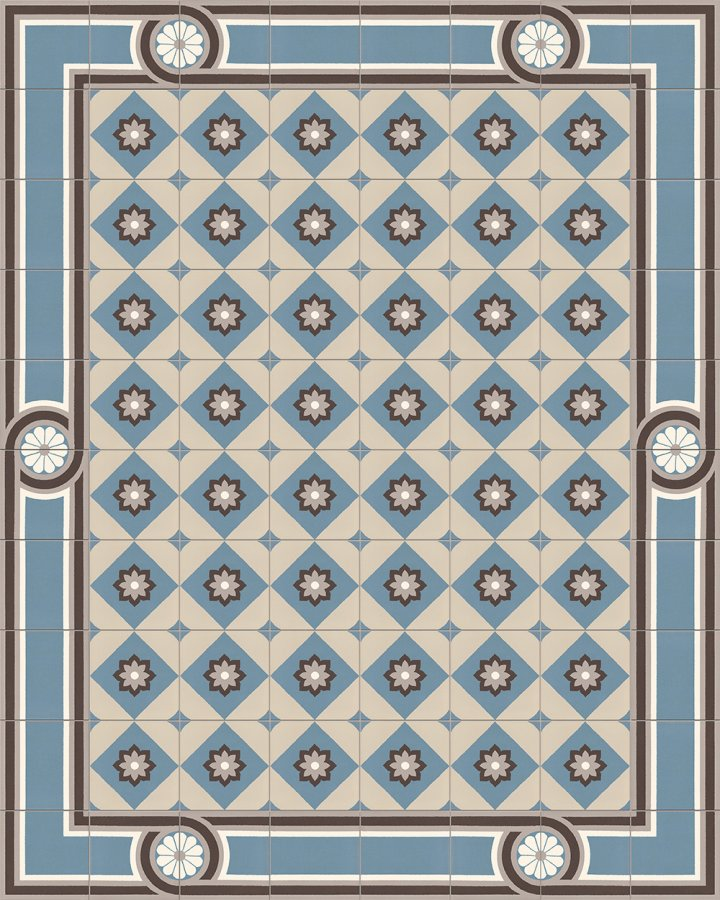 EnglishStoneware tiles with a floral pattern 560 A. Floor tiles with an old motif in blue-gray and light-gray.
