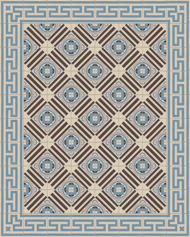 Blue-gray inlaid stoneware tile. Geometric art deco motif as an example of laying.