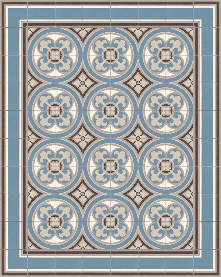 Bodenfliesen Verlegebeispiel mit historischem Motiv in blaugrau und hellgrau. Ornamentfliese SF550A in 17x17cm Feinsteinzeug.