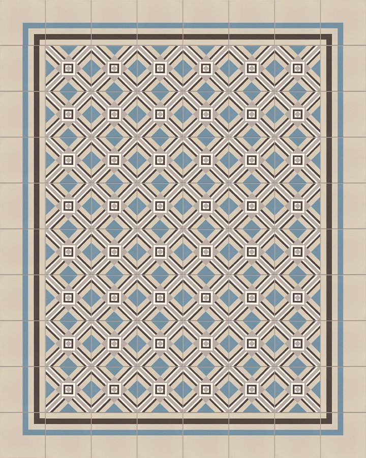 Steinzeugfliese SF559A, blaugrau und hellgrau intarsiert. Verlegebeispiel mit geometrischem Motiv der Gründerzeit.