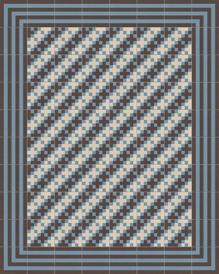 Pixelartfliese in hellgrau und blaugrau. Verlegebeispiel eines modernen und feinteiligen Vierecksmusters.