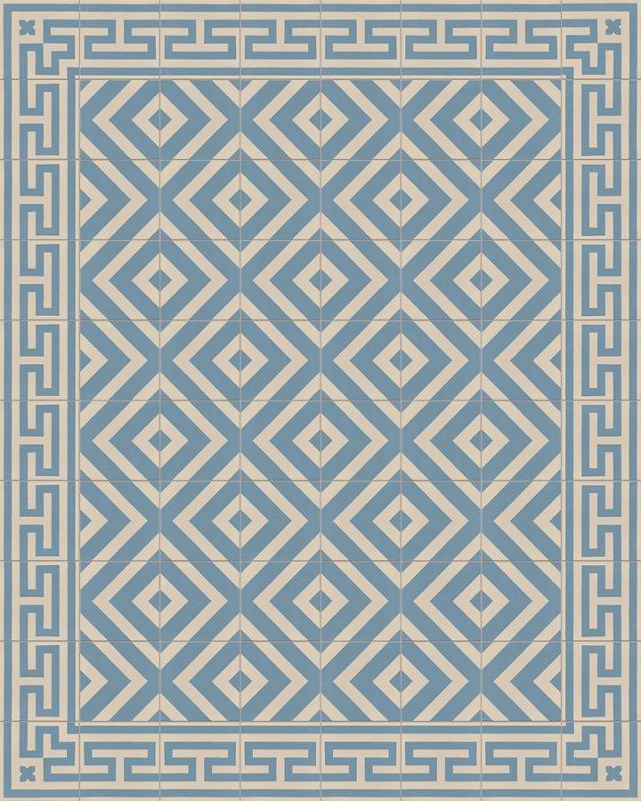 Bodenfliesen mit blaugrauem und hellgrauem Streifenmuster. Moderne Bodengestaltung als Verlegebeispiel SF215A.