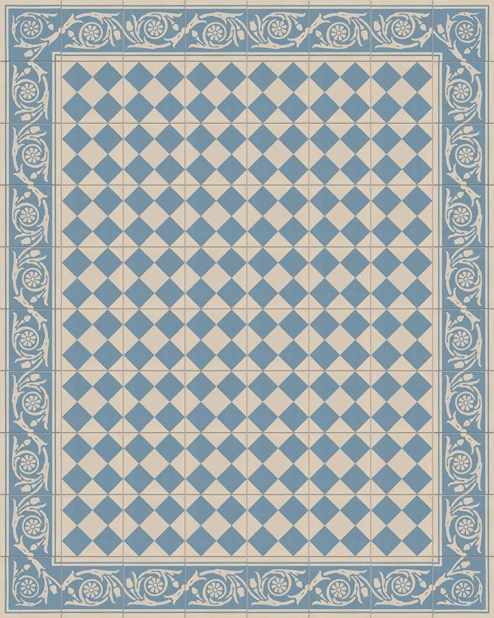 Bodenfliesen in blaugrau mit klassischem, kleinteiligem Schachbrettmotiv. Historisches Feinsteinzeugmuster als Verlegebeispiel SF218A.