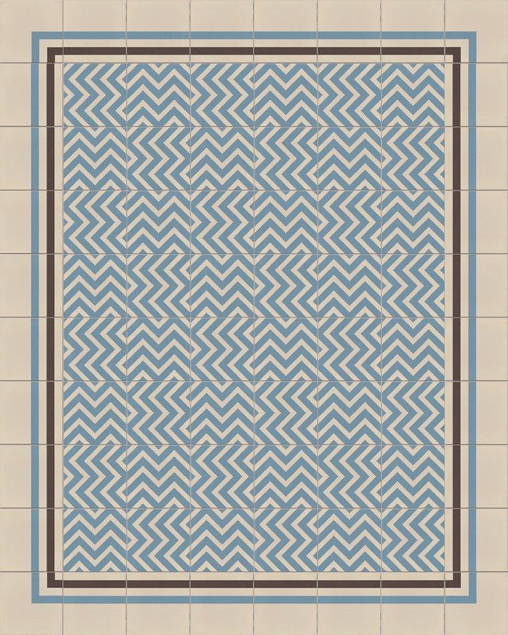 Blaugrau intarsierte, moderne Bodenfliese. Zickzack-Streifenmotiv mit vielfältigen Mustern. Verlegebeispiel SF216A.