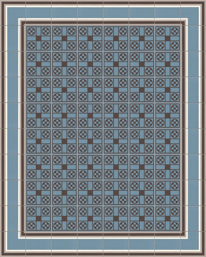 Floor tiles in blue-gray and black-brown as installation example 257A. Geometric stoneware tile.