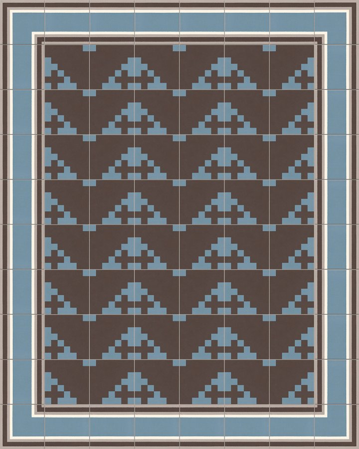 Modern pixel art motif in blue-gray and black-brown. Porcelain stoneware floor tile - installation example.