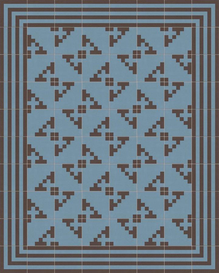 Modernes Pixelartmotiv in blaugrau und schwarzbraun. Bodenfliese aus Feinsteinzeug - Verlegebeispiel.