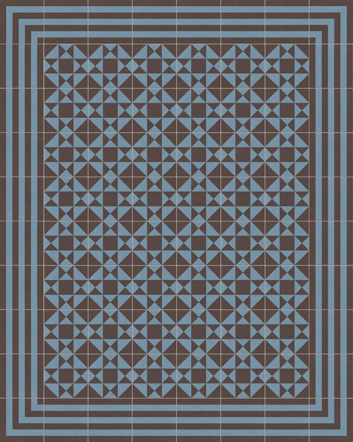 Blauschwarze Steinzeugfliese mit geometrischem Art Decó Motiv als Verlegebeispiel 229A. Moderne Bodenfliese in dunklen Farben.