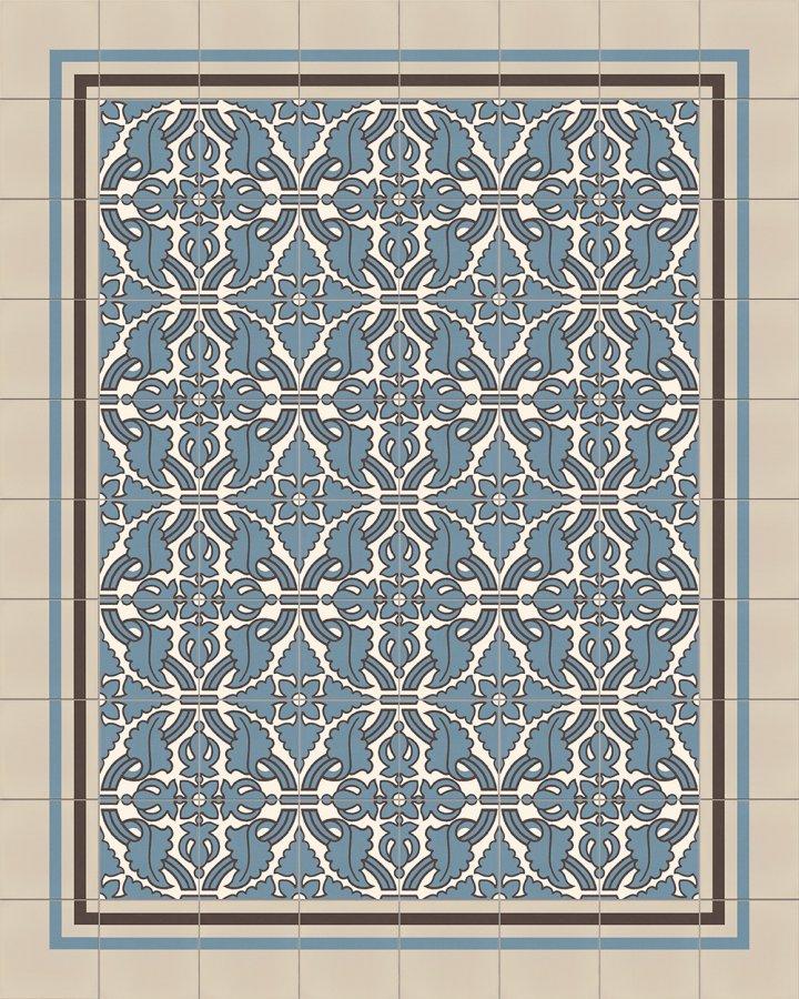 Bodenfliesen blaugrau und cremeweiß intarsiert. Florales Ornamentmotiv der Feinsteinzeugfliese SF331RA.