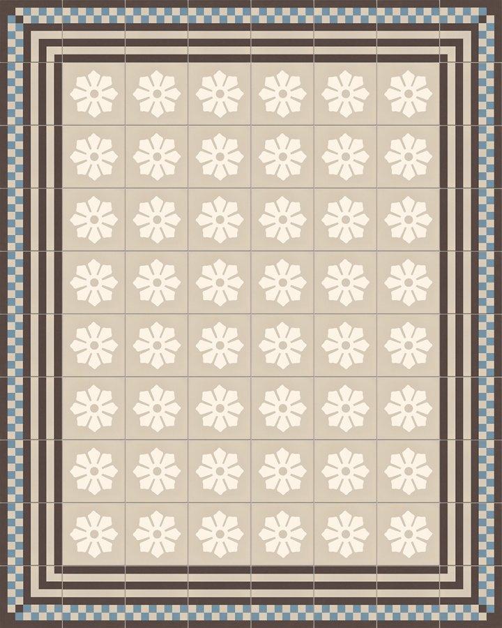 Bodenfliesen mit Floralem Motiv in hellgrau und cremeweiß. Historisches, dezentes Steinzeugmuster 244A.
