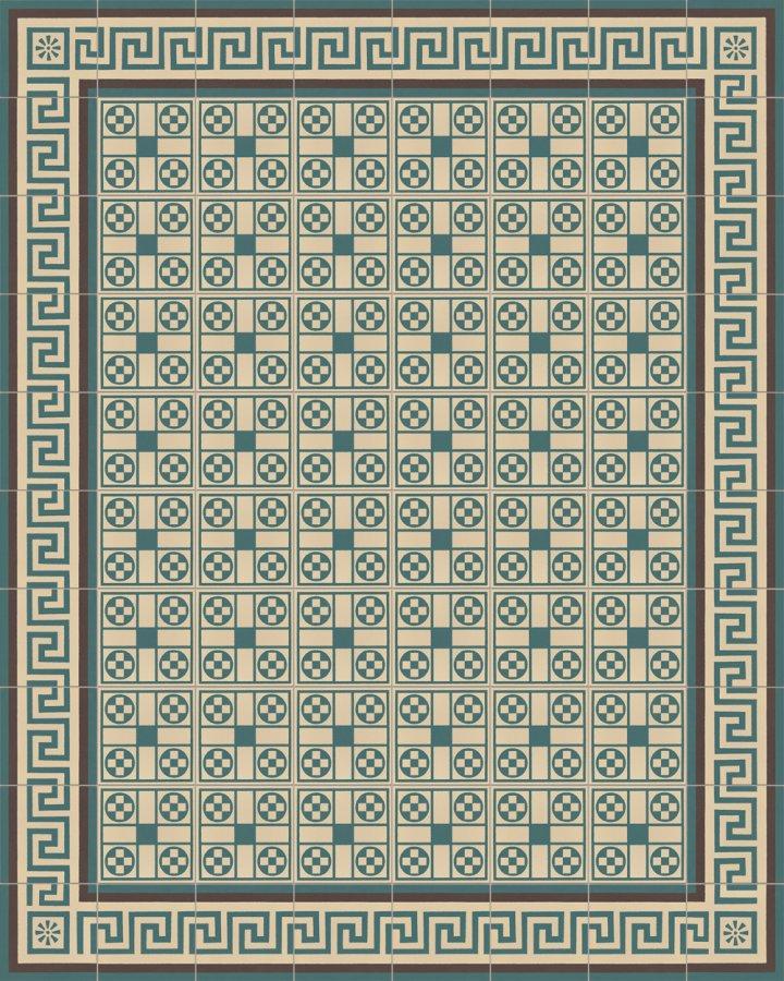 Bodenfliesen in hellbeige und petrolgruen als Verlegebeispiel SF257B. Geometrische Steinzeugfliese.
