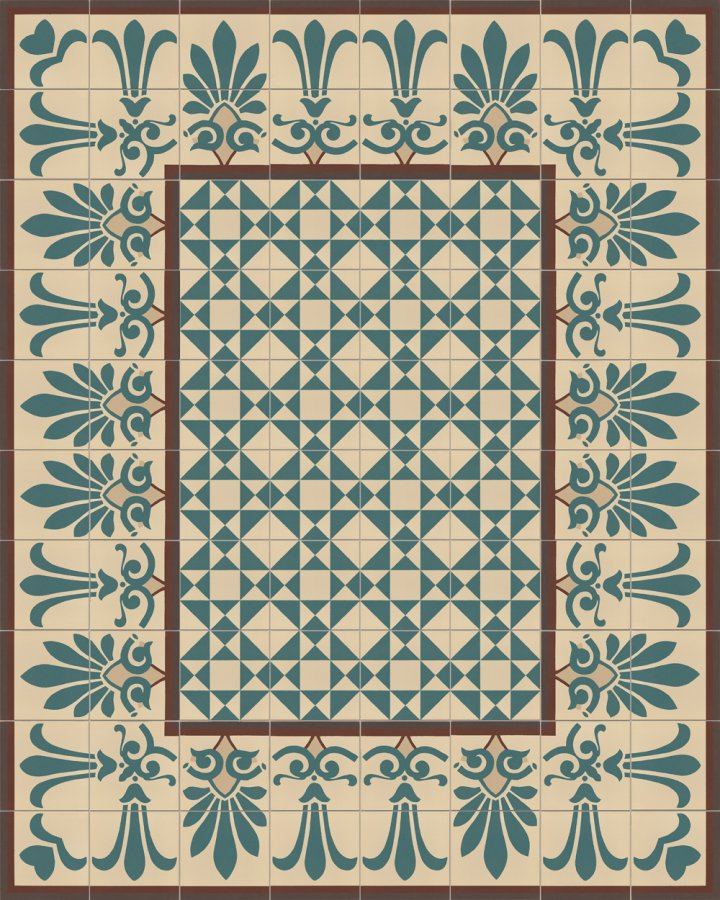 Floor tiles with a floral motif in beige, gray and green tones. Historical, subtle stoneware pattern SF304 in several parts in Art Nouveau style as edge tile pattern.