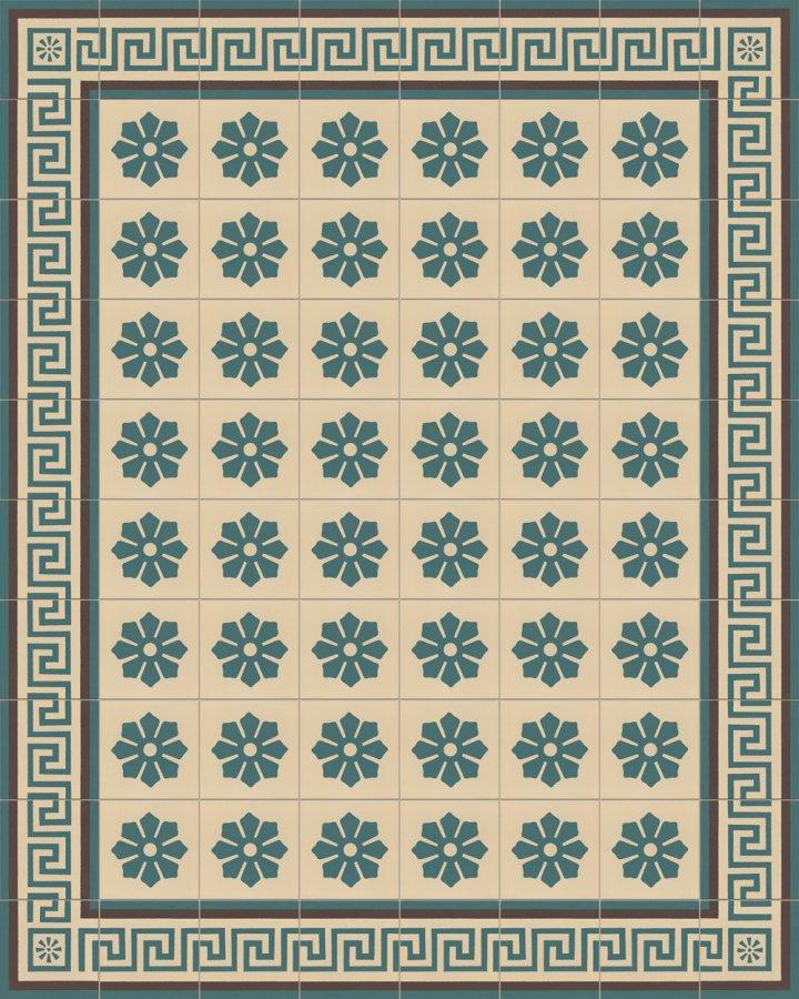 Carreaux de sol avec un motif floral en beige clair et vert pétrole. Motif grès ancien et subtil SF244B.