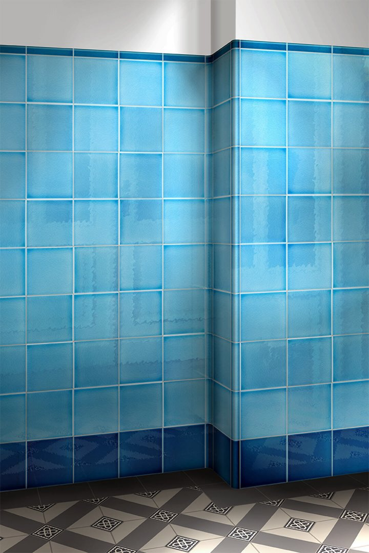 Reflective wall tile F10.606 sky blue. Mixed shades of blue for tiles.