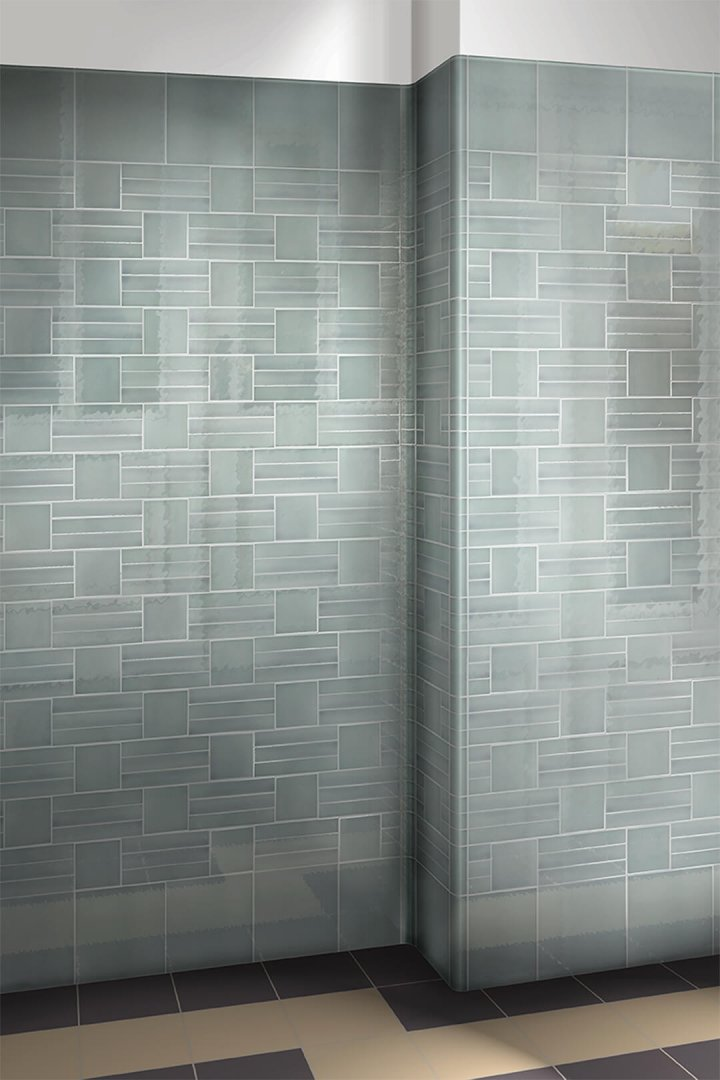 Gray blue dark glazed wall tile F 10.65, straps and small formats in combination.