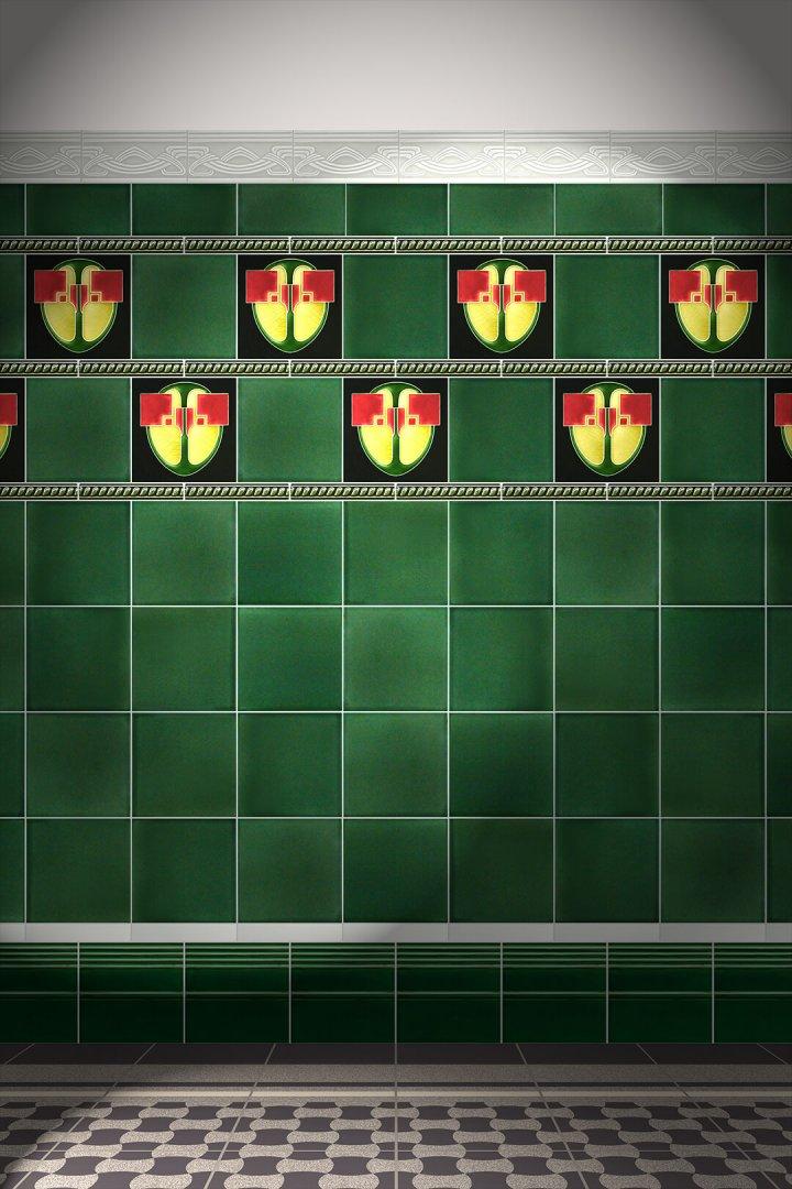 Jugendstilfliesen Verlegemuster F 13 V3