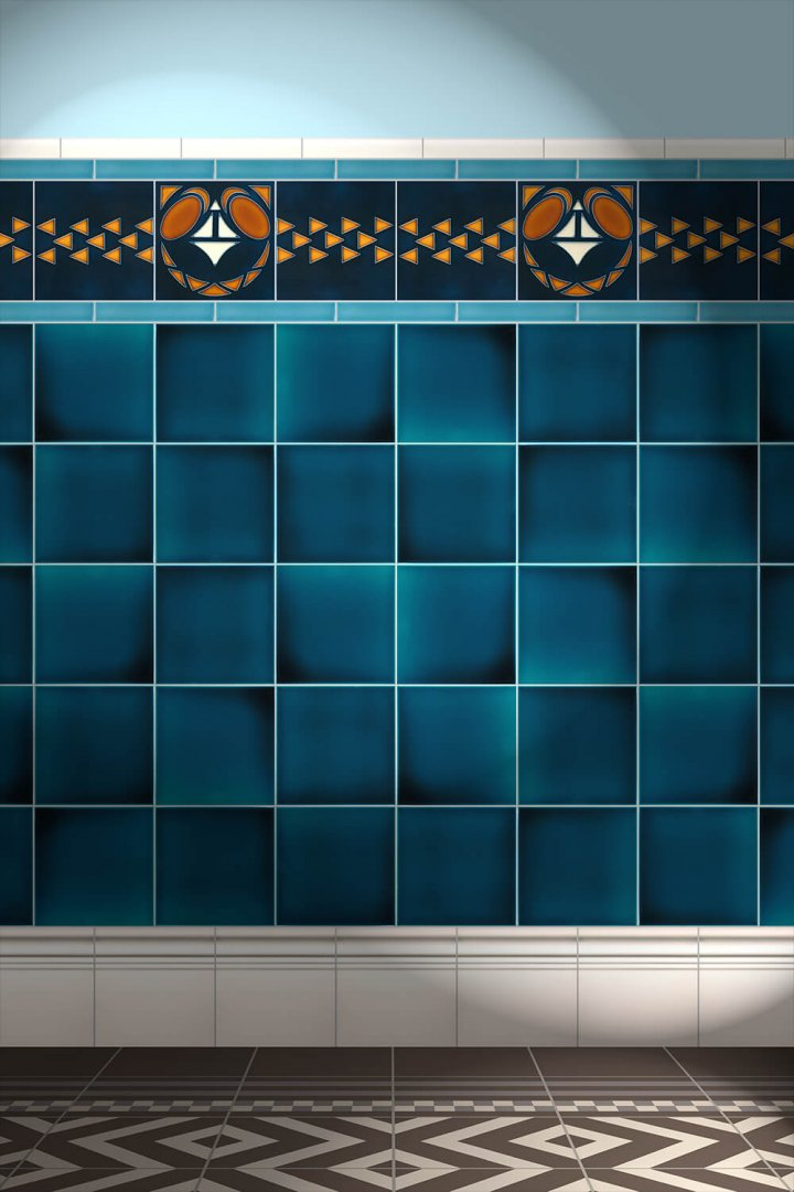 Wall tiles Tiles decorated Verlegebeispiel F 18a V2