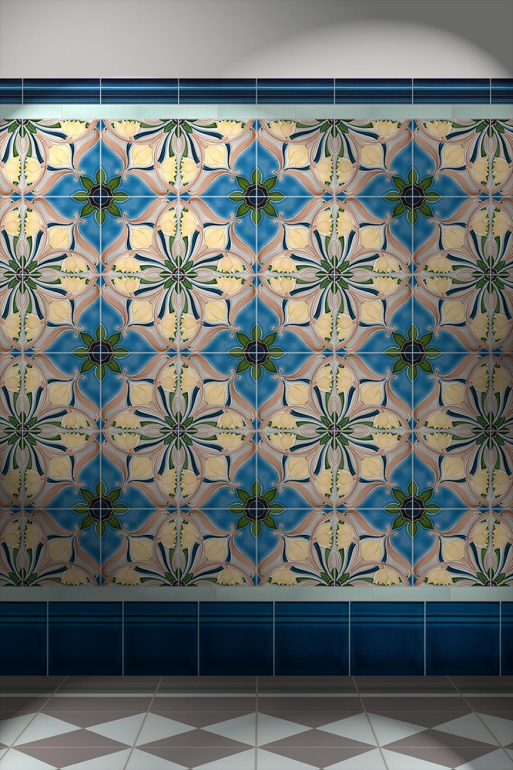 Wall tiles Tiles decorated Verlegebeispiel F 194